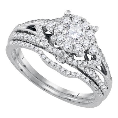 14kt White Gold Womens Round Diamond Cluster Bridal Wedding Engagement Ring Band Set 3/4 Cttw