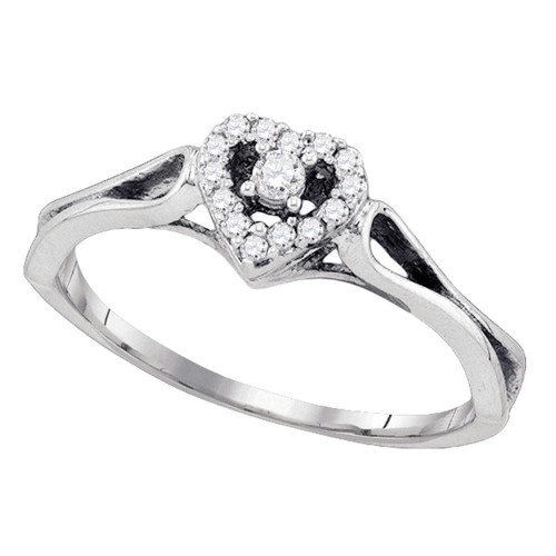 10kt White Gold Womens Round Diamond Heart Love Promise Bridal Ring 1/10 Cttw