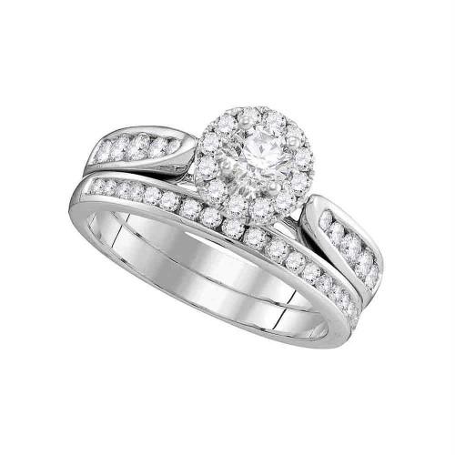 14kt White Gold Womens Diamond Round Halo Bridal Wedding Engagement Ring Band Set 1.00 Cttw