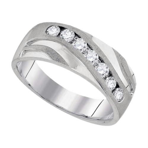 10kt White Gold Mens Round Diamond Wedding Band Ring 1/2 Cttw - 94046-11.5