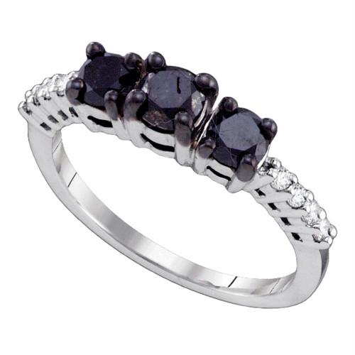 10k White Gold Womens Black 3-stone Color Enhanced Diamond Bridal Wedding Engagement Anniversary Ring 1.00 Cttw