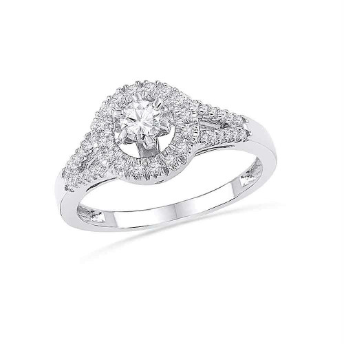 10k White Gold Womens Round Diamond Halo Bridal Wedding Anniversary Engagement Ring 3/8 Cttw