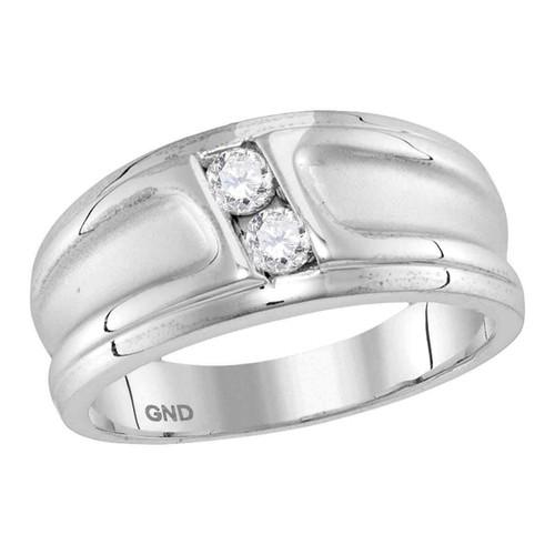 10kt White Gold Womens Round Diamond 2-stone Channel-set Wedding Band 1/3 Cttw