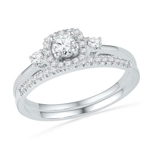 10k White Gold Round Diamond Solitaire Halo Bridal Wedding Engagement Ring Band Set 1/2 Cttw