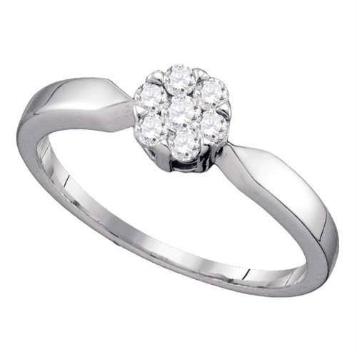 10k White Gold Flower Cluster Diamond Womens Bridal Wedding Engagement Ring 1/4 Cttw