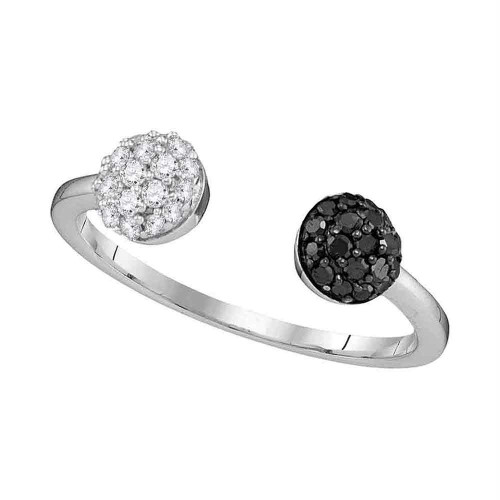 10kt White Gold Womens Round Black Color Enhanced Diamond Bisected Band Cluster Ring 1/3 Cttw