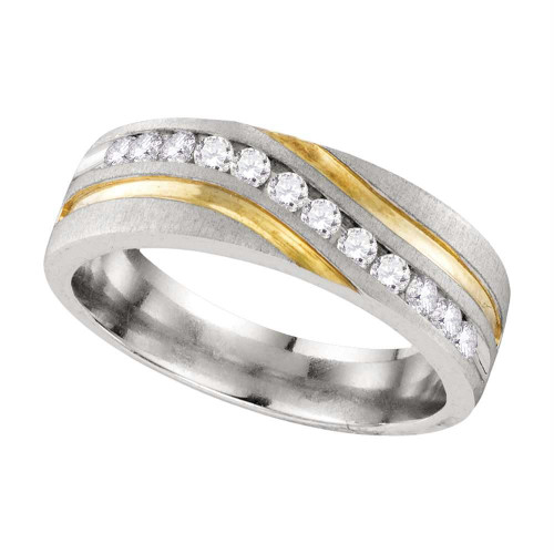 10k White Gold Mens Round Diamond 2-tone Wedding Anniversary Band Ring 1/4 Cttw