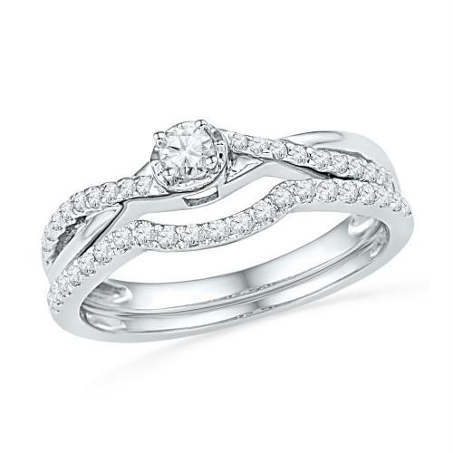 10k White Gold Womens Round Diamond Bridal Wedding Engagement Ring Band Set 1/3 Cttw