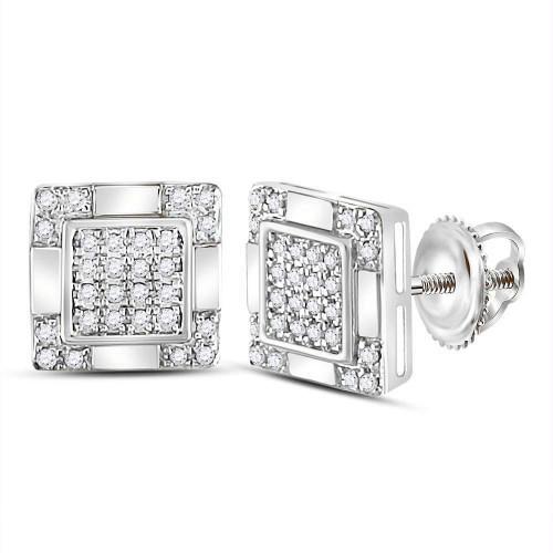 10kt White Gold Mens Round Diamond Square Cluster Stud Earrings 1/6 Cttw - 120029