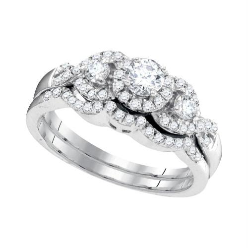 10k White Gold Womens Round Diamond Bridal Wedding Engagement Ring Band Set 5/8 Cttw