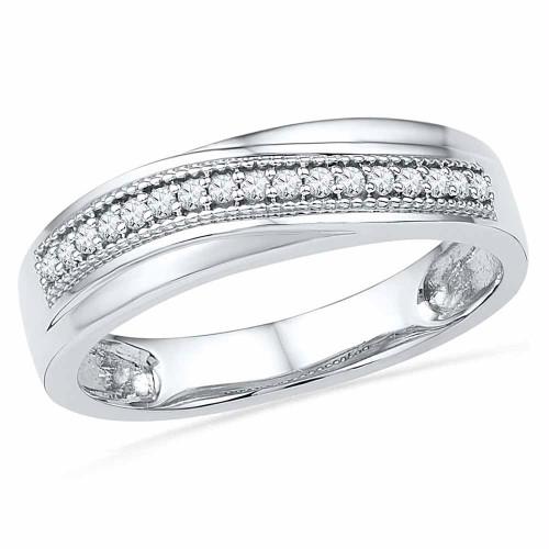 10k White Gold Womens Round Diamond Wedding Anniversary Band 1/6 Cttw