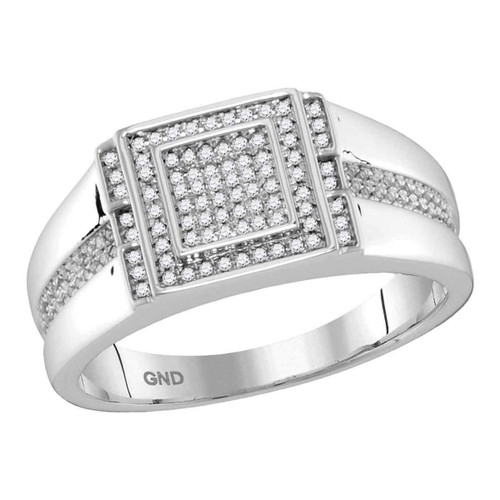 10kt White Gold Mens Round Diamond Square Cluster Ring 1/4 Cttw - 112583-9