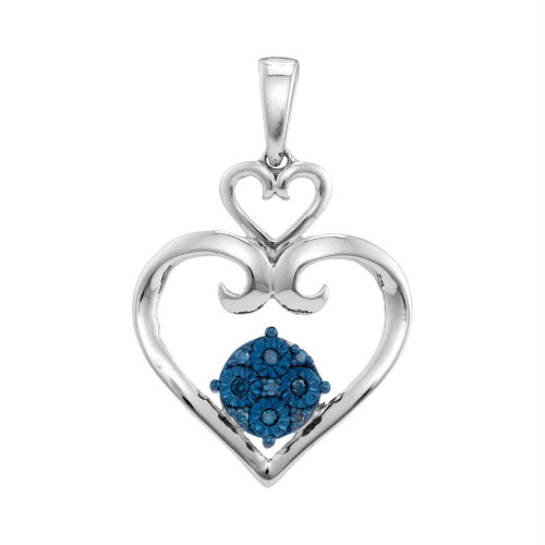 Sterling Silver Womens Round Blue Color Enhanced Diamond Stacked Double Heart Pendant 1/10 Cttw