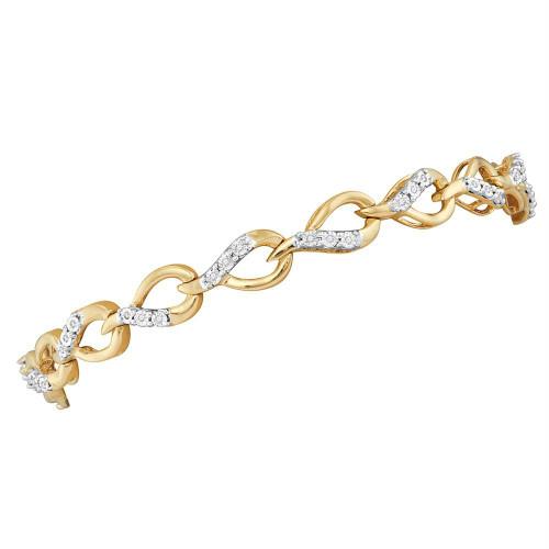 10kt Yellow Gold Womens Round Diamond Linked Teardrop Tennis Bracelet 1/6 Cttw