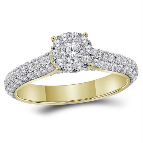 14kt Yellow Gold Womens Round Diamond Solitaire Bridal Wedding Engagement Ring 1-1/3 Cttw