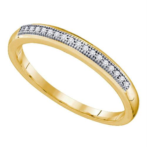 10k Yellow Gold Womens Round Diamond Bridal Wedding Anniversary Band 1/20 Cttw