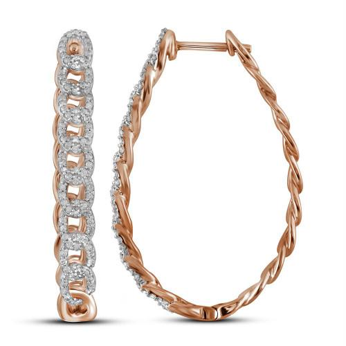 10kt Rose Gold Womens Round Diamond Hoop Earrings 1/2 Cttw