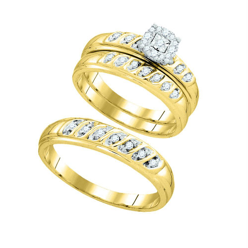 10k Yellow Gold Round Diamond Matching Trio Mens Womens Wedding Bridal Ring Set 1/3 Cttw