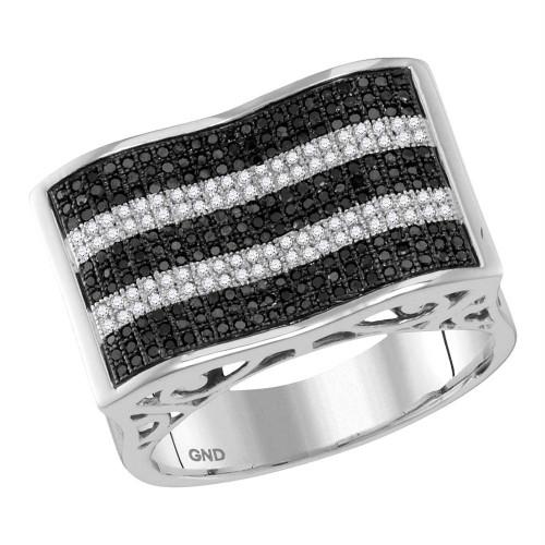 10kt White Gold Mens Round Black Color Enhanced Diamond Rectangle Stripe Cluster Ring 7/8 Cttw