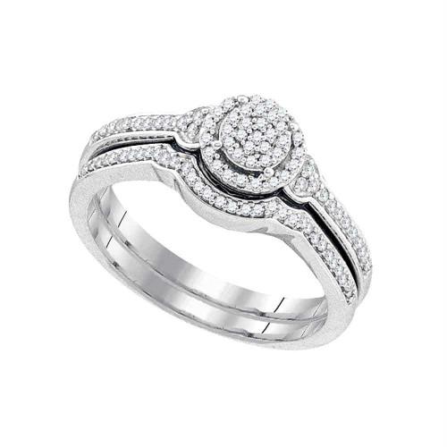10k White Gold Womens Round Diamond Cluster Bridal Wedding Engagement Ring band Set 1/4 Cttw