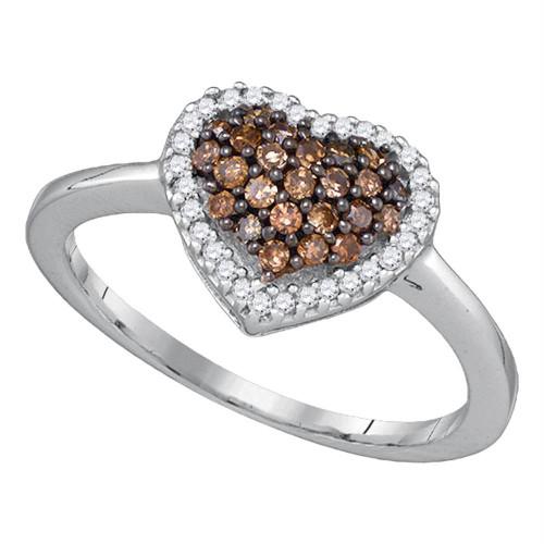 10k White Gold Cognac-brown Round Diamond Cluster Womens Heart Love Ring 1/3 Cttw