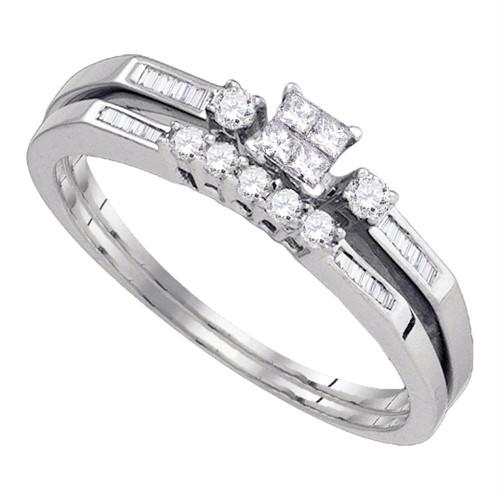 10k White Gold Womens Princess Diamond Slender Wedding Bridal Engagement Ring Band Set 1/3 Cttw
