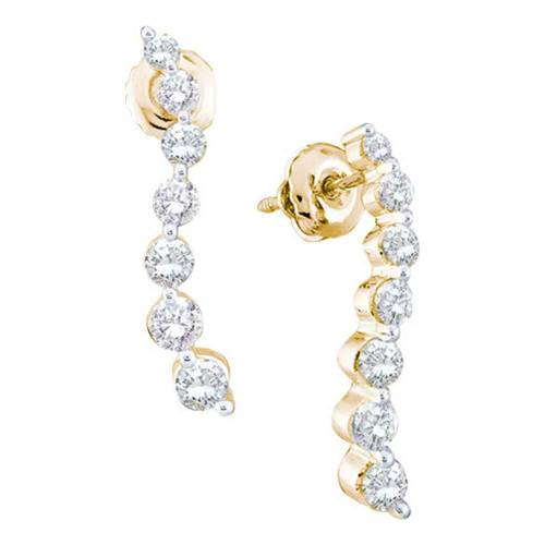 14kt Yellow Gold Womens Round Diamond Graduated Journey Screwback Earrings 1.00 Cttw