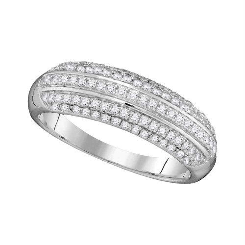 10kt White Gold Womens Round Pave-set Diamond Striped Band Ring 1/2 Cttw