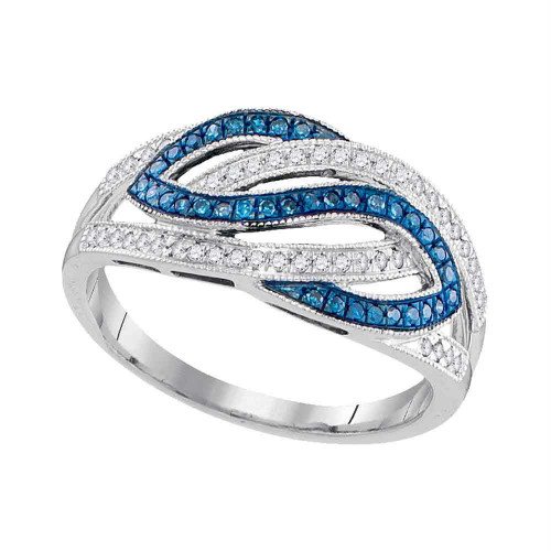 10kt White Gold Womens Round Blue Color Enhanced Diamond Woven Crossover Ring 1/4 Cttw