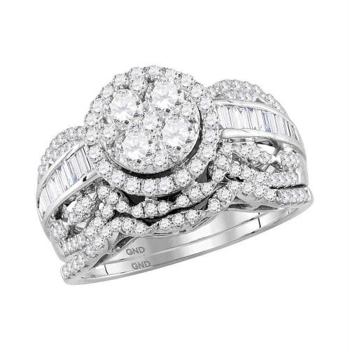 14kt White Gold Womens Round Diamond Cluster Halo Bridal Wedding Engagement Ring Band Set 1-3/8 Cttw