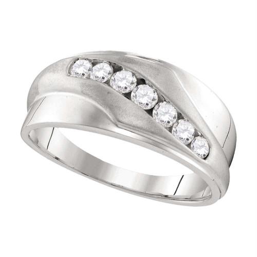 10kt White Gold Mens Round Diamond Wedding Band Ring 1/2 Cttw - 107463-12.5