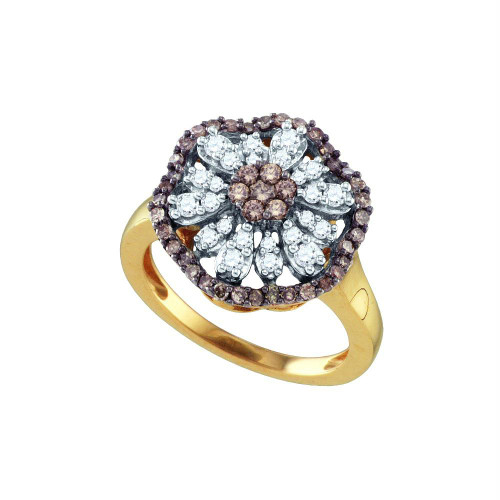 10k Yellow Gold Womens Cognac-brown Color Enhanced Round Diamond Flower Cluster Ring 3/4 Cttw