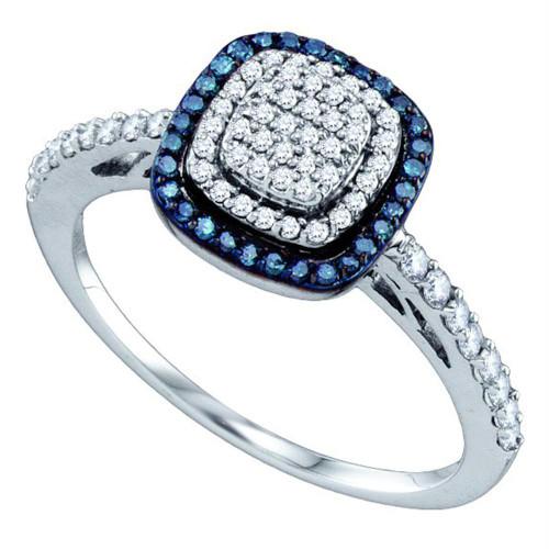 10k White Gold Womens Blue Color Enhanced Diamond Square-shape Cluster Ring 3/8 Cttw