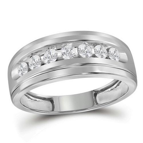 10kt White Gold Mens Round Diamond Wedding Band Ring 1/2 Cttw - 112806-12