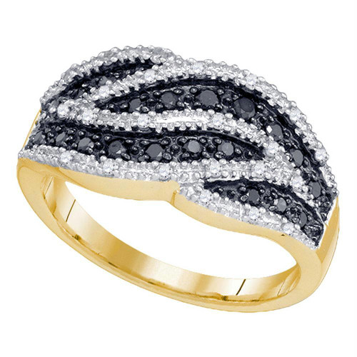 10k Yellow Gold Womens Black Color Enhanced Round Diamond Cocktail Band Ring 1/2 Cttw