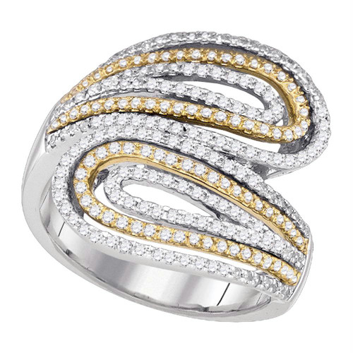 10kt Two-tone White Gold Womens Round Diamond Bypass Fashion Ring 3/4 Cttw