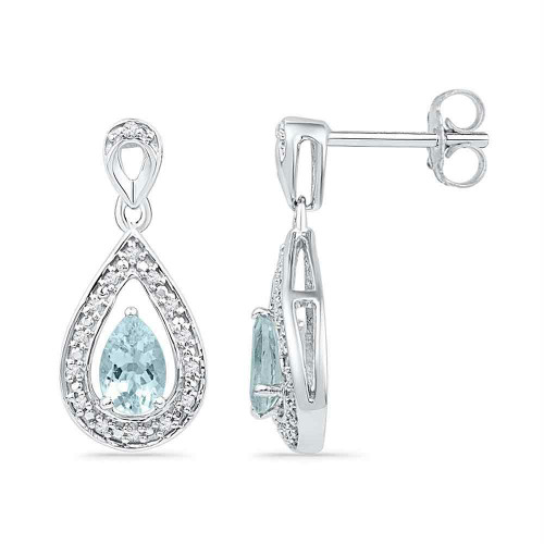10k White Gold Diamond & Lab-Created Aquamarine Teardrop Dangle Screwback Earrings 5/8 Cttw