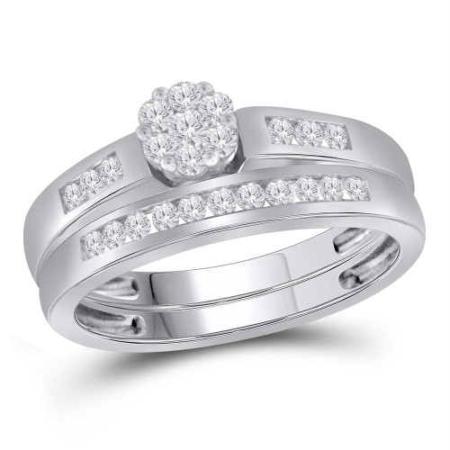 14kt White Gold Womens Round Diamond Cluster Bridal Wedding Engagement Ring Band Set 3/8 Cttw