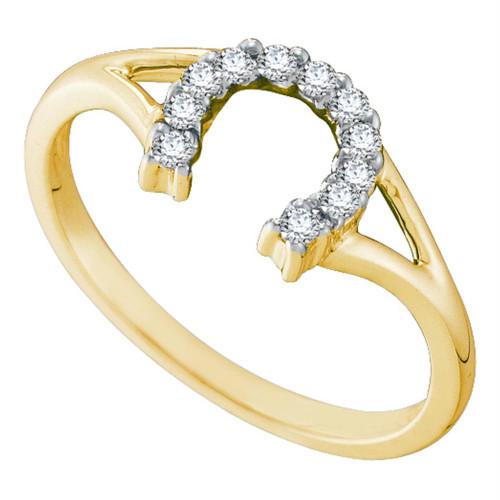 10kt Yellow Gold Womens Round Diamond Lucky Horseshoe Split-shank Ring 1/10 Cttw