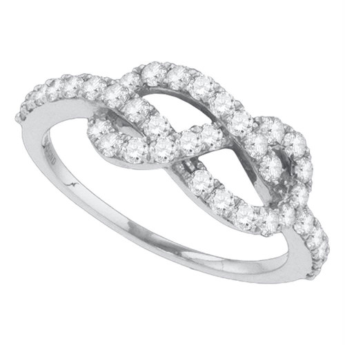 10k White Gold Womens Round Diamond Infinity Woven Love Anniversary Ring 3/4 Cttw