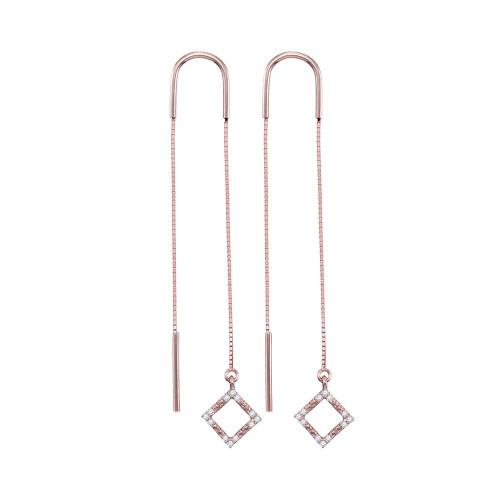 10kt Rose Gold Womens Round Diamond Diagonal Square Dangle Threader Earrings 1/10 Cttw