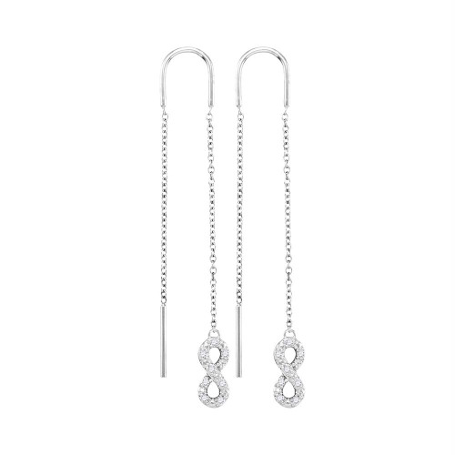 10kt White Gold Womens Round Diamond Infinity Threader Earrings 1/8 Cttw