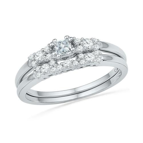 10kt White Gold Womens Princess Diamond Bridal Wedding Engagement Ring Band Set 3/8 Cttw
