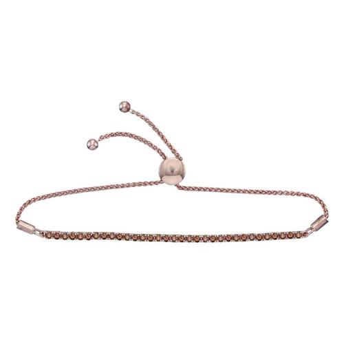10kt White Gold Womens Round Brown Color Enhanced Diamond Bolo Bracelet 2.00 Cttw