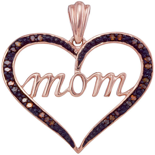 10k Rose Gold Womens Red Color Enhanced Diamond Mom Heart Love Mother's Day Pendant 1/12 Cttw