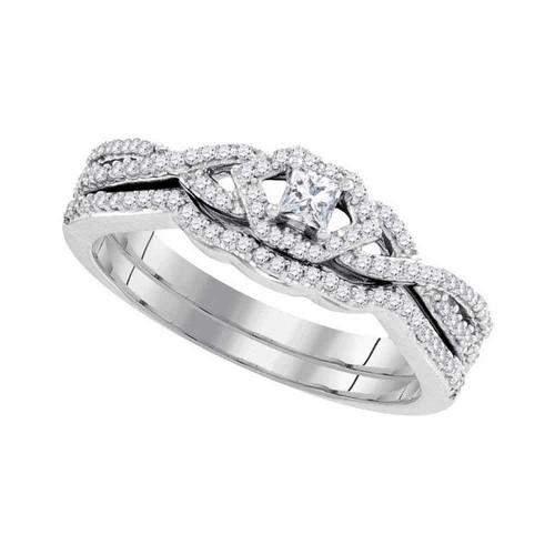 10k White Gold Womens Princess Diamond Bridal Wedding Engagement Ring Band Set Slender 1/3 Cttw