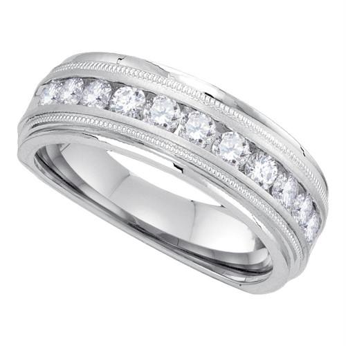 10kt White Gold Mens Round Diamond Wedding Band Ring 1.00 Cttw - 85834-11.5
