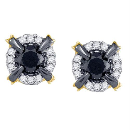 10kt Yellow Gold Womens Round Black Color Enhanced Diamond Stud Earrings 1.00 Cttw
