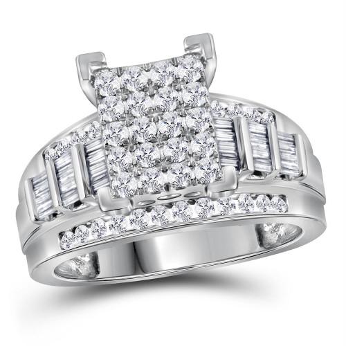 10kt White Gold Womens Princess Diamond Cluster Bridal Wedding Engagement Ring 1.00 Cttw - 113165-8