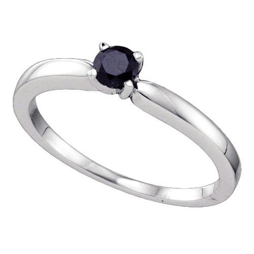 10kt White Gold Womens Round Black Color Enhanced Diamond Solitaire Bridal Wedding Engagement Ring 1/4 Cttw - 64328-10.5